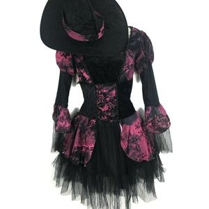Womens Black Pink Gothic Witch Costume 2PC Dress